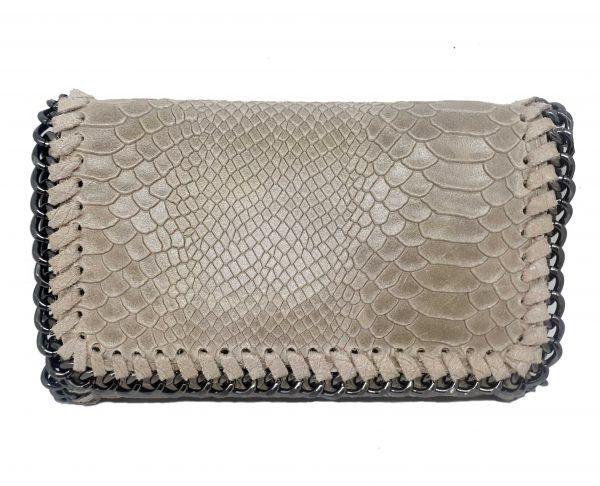 party snake handbag leather beige