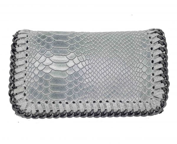 party snake handbag leather  gray