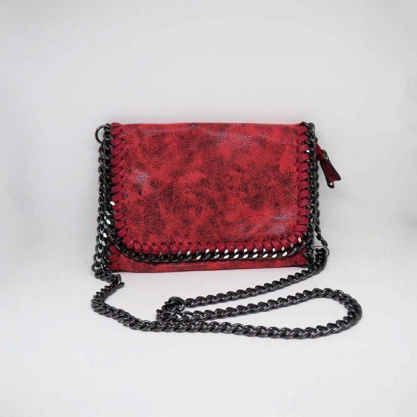 Bolso con cadenas rojo