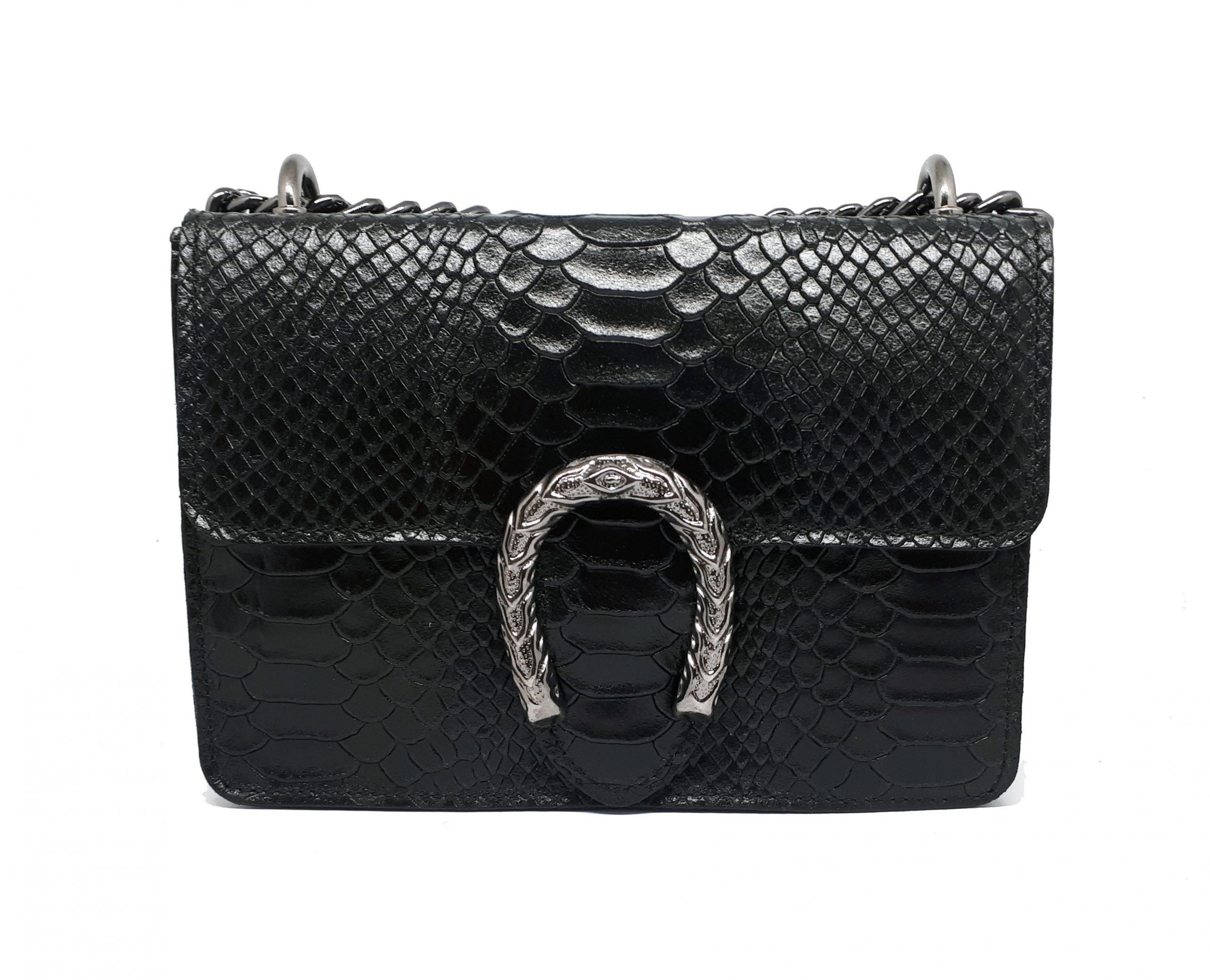 leather handbag horseshoe black