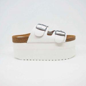 Sandalias con plataforma blanca para mujer