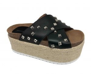 crossed studs platform shoe