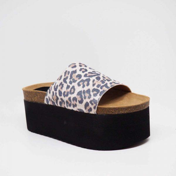 Sandalia de leopardo para mujer