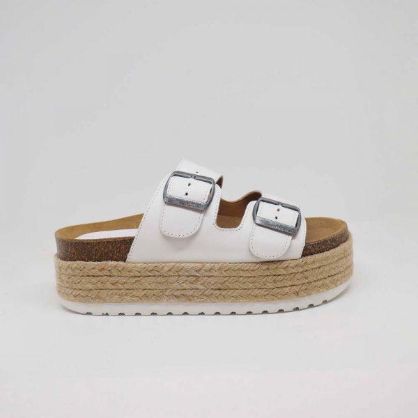 Sandalia blanca con plataforma