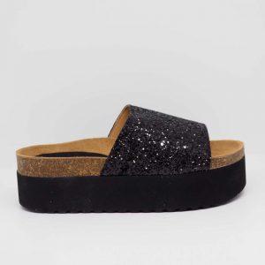 Sandalia negra de yute