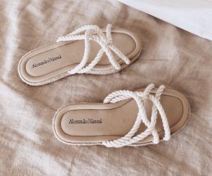 sandalias planas mujer esparto Alessandro Simoni